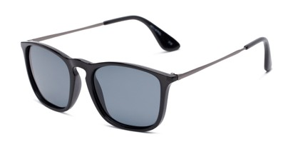 Angle of Boone #4187 in Glossy Black Frame with Grey Lenses, Women's and Men's Retro Square Sunglasses