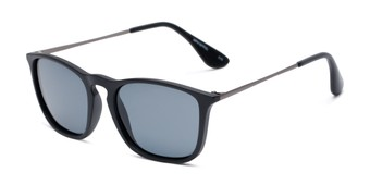 Angle of Boone #4187 in Matte Black Frame with Grey Lenses, Women's and Men's Retro Square Sunglasses