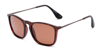 Angle of Boone #4187 in Matte Tortoise Frame with Amber Lenses, Women's and Men's Retro Square Sunglasses
