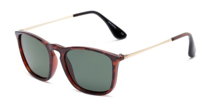 Angle of Boone #4187 in Glossy Tortoise Frame with Green Lenses, Women's and Men's Retro Square Sunglasses