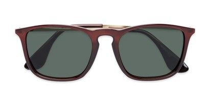 Folded of Boone #4187 in Glossy Brown Frame with Green Lenses