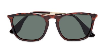 Folded of Boone #4187 in Glossy Tortoise Frame with Green Lenses