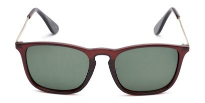 Front of Boone #4187 in Glossy Brown Frame with Green Lenses
