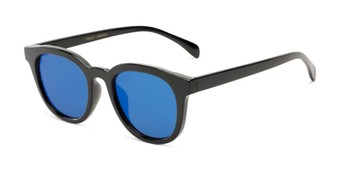 Angle of Boston #16099 in Black Frame with Blue Mirrored Lenses, Women's and Men's Retro Square Sunglasses