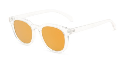 Angle of Boston #16099 in Clear Frame with Orange Mirrored Lenses, Women's and Men's Retro Square Sunglasses