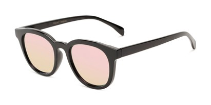 Angle of Boston #16099 in Black Frame with Champagne Pink Mirrored Lenses, Women's and Men's Retro Square Sunglasses