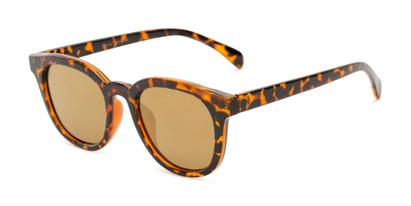 Angle of Boston #16099 in Tortoise Frame with Gold Mirrored Lenses, Women's and Men's Retro Square Sunglasses
