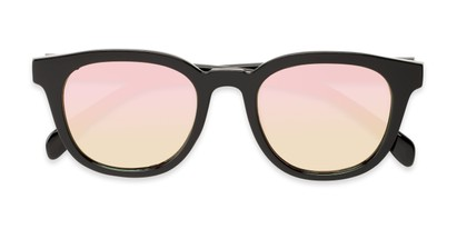 Folded of Boston #16099 in Black Frame with Champagne Pink Mirrored Lenses