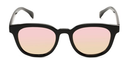Front of Boston #16099 in Black Frame with Champagne Pink Mirrored Lenses