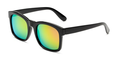 Angle of Borough in Glossy Black Frame with Yellow/Pink Mirrored Lenses, Women's and Men's Square Sunglasses