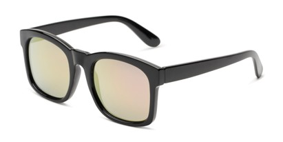 Angle of Borough in Glossy Black Frame with Pink Mirrored Lenses, Women's and Men's Square Sunglasses