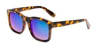 Angle of Borough in Glossy Tortoise Frame with Blue/Green Mirrored Lenses, Women's and Men's Square Sunglasses