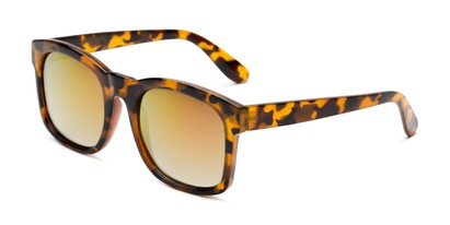 Angle of Borough in Glossy Tortoise Frame with Yellow/Pink Mirrored Lenses, Women's and Men's Square Sunglasses