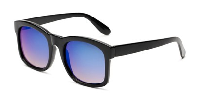 Angle of Borough in Glossy Black Frame with Blue Mirrored Lenses, Women's and Men's Square Sunglasses