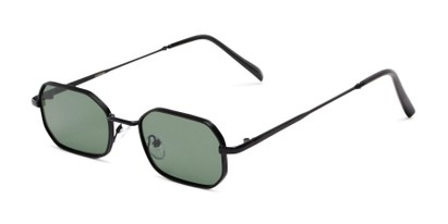 Angle of Boyd #3155 in Black Frame with Green Lenses, Women's and Men's Round Sunglasses
