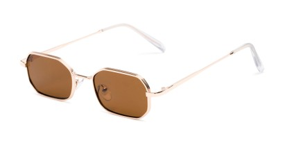 Angle of Boyd #3155 in Gold Frame with Amber Lenses, Women's and Men's Round Sunglasses