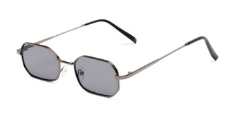 Angle of Boyd #3155 in Grey Frame with Smoke Lenses, Women's and Men's Round Sunglasses