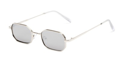 Angle of Boyd #3155 in Silver Frame with Smoke Lenses, Women's and Men's Round Sunglasses