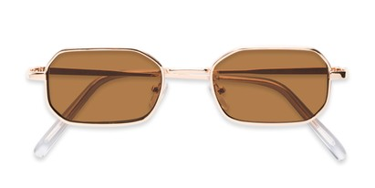 Folded of Boyd #3155 in Gold Frame with Amber Lenses