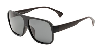 Angle of Bozeman #14011 in Matte Black/Brown Frame with Smoke Lenses, Men's Aviator Sunglasses
