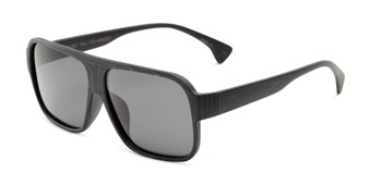 Angle of Bozeman #14011 in Matte Black Frame with Smoke Lenses, Men's Aviator Sunglasses