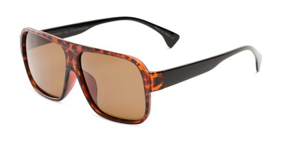 Angle of Bozeman #14011 in Matte Tortoise Frame with Amber Lenses, Men's Aviator Sunglasses