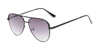 Angle of Breaker #3218 in Black Frame with Smoke Lenses, Women's and Men's Aviator Sunglasses