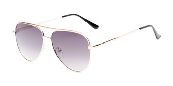 Angle of Breaker #3218 in Gold Frame with Smoke Lenses, Women's and Men's Aviator Sunglasses