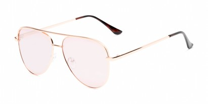Angle of Breaker #3218 in Rose Gold Frame with Rose Gold Lenses, Women's and Men's Aviator Sunglasses