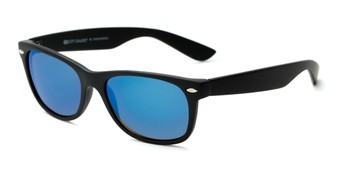Angle of Brien #6230 in Black Frame with Blue Mirrored Lenses, Women's and Men's Retro Square Sunglasses