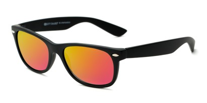 Angle of Brien #6230 in Black Frame with Pink/Yellow Mirrored Lenses, Women's and Men's Retro Square Sunglasses