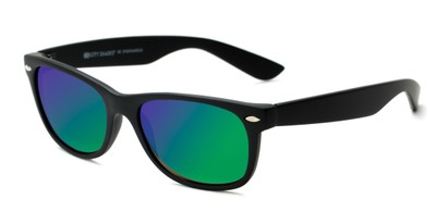 Angle of Brien #6230 in Black Frame with Green/Purple Mirrored Lenses, Women's and Men's Retro Square Sunglasses