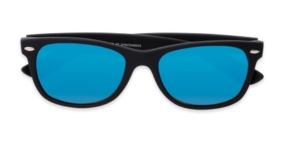 Folded of Brien #6230 in Black Frame with Blue Mirrored Lenses