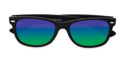 Folded of Brien #6230 in Black Frame with Green/Purple Mirrored Lenses