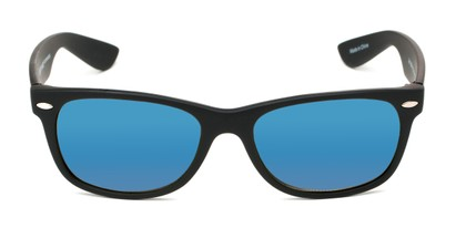Front of Brien #6230 in Black Frame with Blue Mirrored Lenses