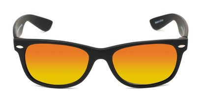 Front of Brien #6230 in Black Frame with Orange Mirrored Lenses