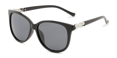 Angle of Bristol #6881 in Black Frame with Grey Lenses, Women's Retro Square Sunglasses