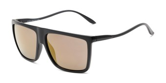 Angle of Brock #62801 in Matte Black Frame with Gold Mirrored Lenses, Men's Square Sunglasses