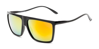 Angle of Brock #62801 in Glossy Black Frame with Yellow Mirrored Lenses, Men's Square Sunglasses