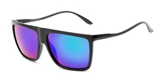 Angle of Brock #62801 in Glossy Black Frame with Blue/Green Mirrored Lenses, Men's Square Sunglasses