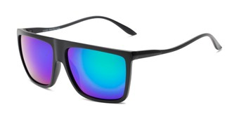 Angle of Brock #62801 in Matte Black Frame with Blue/Green Mirrored Lenses, Men's Square Sunglasses