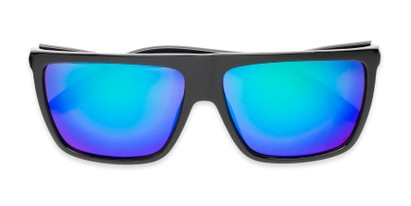 Folded of Brock #62801 in Glossy Black Frame with Blue/Green Mirrored Lenses