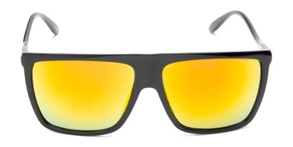 Front of Brock #62801 in Glossy Black Frame with Yellow Mirrored Lenses