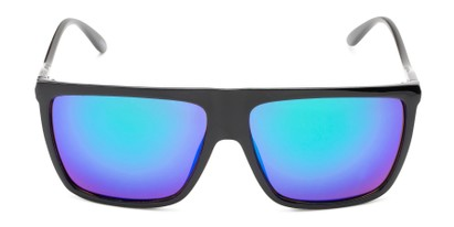 Front of Brock #62801 in Glossy Black Frame with Blue/Green Mirrored Lenses