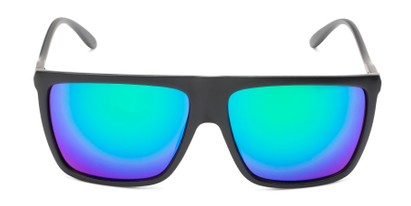 Front of Brock #62801 in Matte Black Frame with Blue/Green Mirrored Lenses