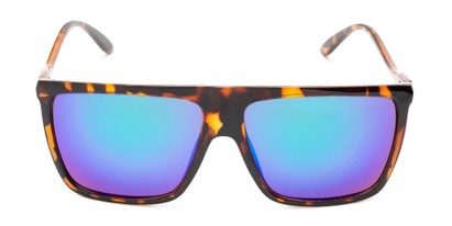 Front of Brock #62801 in Glossy Tortoise Frame with Blue/Green Mirrored Lenses
