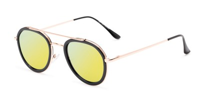 Angle of Brody #16870 in Glossy Black Frame with Yellow Mirrored Lenses, Women's and Men's Round Sunglasses