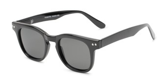 Angle of Buchanon #3391 in Black Frame with Grey Lenses, Women's and Men's Retro Square Sunglasses
