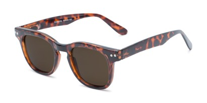 Angle of Buchanon #3391 in Tortoise Frame with Amber Lenses, Women's and Men's Retro Square Sunglasses