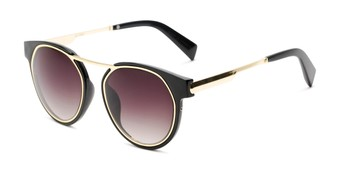 Angle of Bumblebee in Black/Gold Frame with Smoke Gradient Lenses, Women's Round Sunglasses